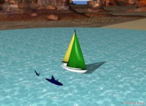 a big lake is in the middle of a beach. a boat is -2 feet above the lake. a  big shark is 5 feet away from the boat . the shark is -3 feet above the water. the shark is dark blue