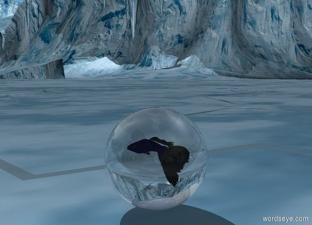 Input text: the big [ice] fish is -17 inches above the big transparent sphere.  the fish is blue.