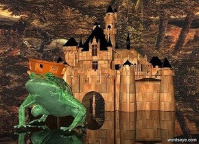 a 100 inch tall brick castle.sky is 3000 feet tall.sky is 15000 inch wide [forest].ground is clear.a 30 inch tall shiny malachite green frog is  50 inch in front of the castle.a 7 inch tall shiny old gold crown is -3 inch above the frog.the crown is -25 inch in front of the frog.the crown leans 10 degrees to west.