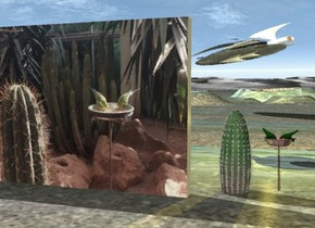A large image-12110 wall. The ground is 82 feet wide image-12032. A huge cactus is behind and 2 feet right of the wall. A shiny spaceship is 80 feet behind and above and -38 feet right of the wall. It is facing northwest. It is leaning 5 degrees to the front. A 30 feet long stick is 2 feet right of and behind the cactus. It is leaning 90 degrees to the back. A 4 feet wide shiny brown bowl is 2 feet above the stick. A 2 feet high bird is -1 foot above and -2 feet right of the bowl. It is facing west. It is leaning 70 degrees to the front. A 2 feet high bird is -1 foot above and -2 feet left of the bowl. It is facing southeast. It is leaning 70 degrees to the front. A lemon light is on the bird. Camera light is beige.