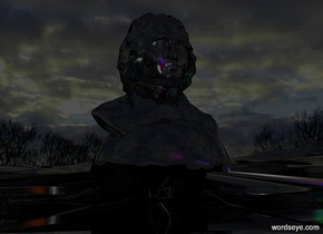 a shiny black symbol.it is face up.a shiny black statue is -0.8 feet above the symbol.the ground is shiny black.the sun is black.a red light is 2 feet in front of the symbol.a blue light is 6 inches above the red light.the ground is 20 feet tall.a purple light is 2 inches above the blue light.the sky is cloud.a green light is right of the symbol.
