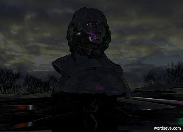 Input text: a shiny black symbol.it is face up.a shiny black statue is -0.8 feet above the symbol.the ground is shiny black.the sun is black.a red light is 2 feet in front of the symbol.a blue light is 6 inches above the red light.the ground is 20 feet tall.a purple light is 2 inches above the blue light.the sky is cloud.a green light is right of the symbol.