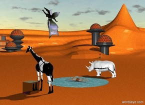 a huge shiny black cube is to the right of a texture giraffe. The ground is skin. There is a large texture rhino 6 feet left of the pond. Huge flowers blossom on top of the rhino's back. There is a large texture angel in the sky. A large swimmer inside a thought bubble in the pond.