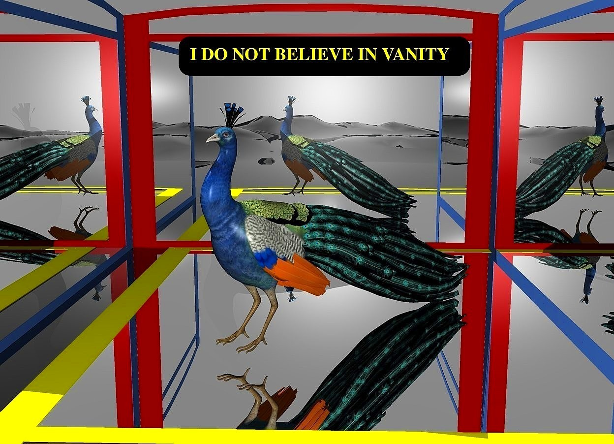 Input text: a 1st 400 inch tall and 600 inch wide maroon mirror.a 2nd 400 inch tall and 600 inch wide delft blue mirror is left of the 1st mirror.the 2nd mirror is in front of the 1st mirror.the 2nd mirror is facing right.a 3rd 400 inch tall and 600 inch wide delft blue mirror is right of the 1st mirror.the 3rd mirror is in front of the 1st mirror.the 3rd mirror is facing left.a 4th 800 inch tall and 600 inch wide yellow mirror is in front of the 1st mirror.the 4th mirror leans 90 degrees to the front.ground is clear.a 250 inch tall peacock is on the 4th mirror.the peacock is facing southwest.the peacock is 250 inch in front of the 1st mirror.the peacock is -410 inch right of the 1st mirror.sky is gray.