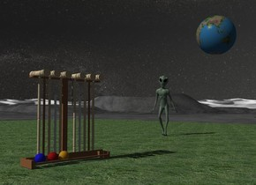 A croquet set is on a lawn. The sky is 2500 feet wide [starfield]. A huge 80% dark earth is 20 feet behind and 10 feet above and 45 feet right of the croquet set. It is facing east. Camera light is black. A pale green alien is 3 feet behind and 8 feet right of the croquet set. The alien is facing the croquet set.