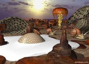 A 150 foot tall jellyfish is 10 feet left of a huge washing machine. A 288 foot wide texture egg sits under the jellyfish. A 200 foot high texture wave 2 feet to the right of the washing machine. A 100 foot high texture wave 500 inches behind the egg. There is a 45 foot tall snail 52 feet in front of the jellyfish. A 35 foot tall snail in front of the 30 foot snail.