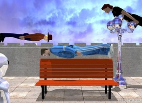 a 6 foot wide bench is on a [sidewalk] floor. a man is above and -1 foot behind and right of the bench. he faces left. he leans 90 degrees to the back. a 7 foot tall silver lamppost is behind and right of the bench. a woman is -2.2 foot above and -2.5 foot right of the lamppost. she faces left. she leans 68 degrees to the front.  a concrete castle wall is 6 feet behind the bench. it is 4 feet tall and 100 feet wide. a 7 foot tall person is -.1 foot  above and -1 foot behind the wall. he faces right. he leans 89 degrees to the front. he is  left of the bench. camera light is black. ambient light is gold.  ground is clear. a tiny lemon chiffon light is in front of and -1 foot right of  the person. a shiny alien is 6 feet in front of and -1 foot left of the bench. the alien faces the lamppost. it is noon.