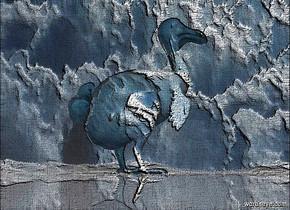 a 100 inch tall [cloud] dodo.ground is shiny.sky is [cloud].sky is 3000 feet tall.