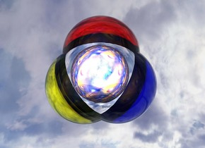 the  blue clear sphere is -0.6 feet to the right of the  yellow clear sphere. the  red clear sphere is -0.6 feet above and -0.8 feet to the right of the yellow sphere. the ground is silver. the  silver sphere is -10.6 inches above and -0.8 feet to the right of the yellow sphere. it is -0.9 feet in front of the yellow sphere. the spheres are shiny. the yellow sphere is 1000 feet above the ground. the 1000 feet tall and 1000 feet wide wall is 40 feet in front of and -500 feet above the silver sphere. the wall is 100 feet tall [texture]. the 1st light is on the red sphere. the 2nd light is on the blue sphere. the 3rd light is on the yellow sphere