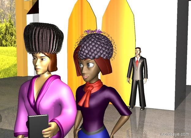Input text: a purple cactus is -1 foot above and -1.75 foot in front of a 1st 10 foot tall woman. the woman's shirt is purple. the woman's skirt is black.  a pink 2 foot tall cactus is -.8 foot above and -4 foot in front of  a 2nd 10 foot tall woman. the second woman is left of the 1st woman. a 50 foot tall church is 25 feet behind and -40 feet left of the women. the wall of the church is white stone. the door of the church is wood.  ground is [pavement].  a gigantic wall is left of and -50 feet in front of the church. the wall faces right. the wall is 50 feet tall [landscape].   sun's azimuth is 0 degrees. sun's altitude is 10 degrees. sun is dim sienna. a peach puff light is right of  and -1 foot above the woman.  a 1.5 foot tall black book is -.7 foot in front of and -5.2 feet above and -1.3 foot right of the 2nd woman. a marble is 5 feet in front of and right of the 1st woman. the book faces the marble.   a 10 foot tall 50% dark matte man is in front of and -1 feet right of the church's door. the man's tie is white.