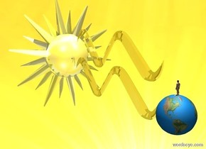 a 10 foot tall and 20 foot wide shiny lemon symbol. a 20 foot tall shiny yellow star is left of the symbol. the symbol is -15 feet above the star. the star faces right. a large earth is right of the lemon symbol. a very small person is on the earth. the person faces left. ground is invisible. sky is [Heat] . it is noon. camera light is dim.