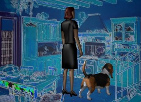 a 900 inch wide and 640 inch tall [NA] wall.camera light is gray.a 500 inch tall  woman is in front of the wall.the woman is facing northeast.the woman is -570 inch above the wall.a 200 inch tall dog is -40 inch right of the woman.the dog is facing northeast.