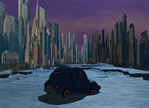 a 1st city is in the background.the background is  3000 feet wide and 500 feet deep.the sky leans 30 degrees to west.ground is 50 feet tall and 4000 feet wide.ground is 30% dim petrol blue..camera light is black.a 700 inch tall delft blue car is -120  inch above  the ground.the car is facing northwest.the car leans 5 degrees to the front.a delft blue light is right of the car.