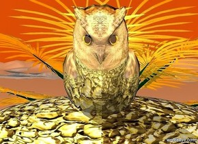 a 100 inch tall 200 inch wide and 35 inch deep [gold] sphere.the sphere leans -110 degrees to back.sky  is old gold.ground is shiny.a 120 inch tall and 40 inch deep and 50 inch wide  shiny gold owl is -90 inch in front of the sphere.the owl leans -40 degrees to back.the owl is -50 inch above the sphere.a 200 inch tall and 400 inch wide and 50 inch deep gold palm is behind the owl..the tree trunk of the palm is gold.the palm is -40 inch above the ground.