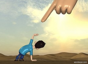 The boy is facing back. The enormous hand is above and -1 feet to the right of the boy. It is upside down. It is facing back. It is leaning 35 degrees to the right.