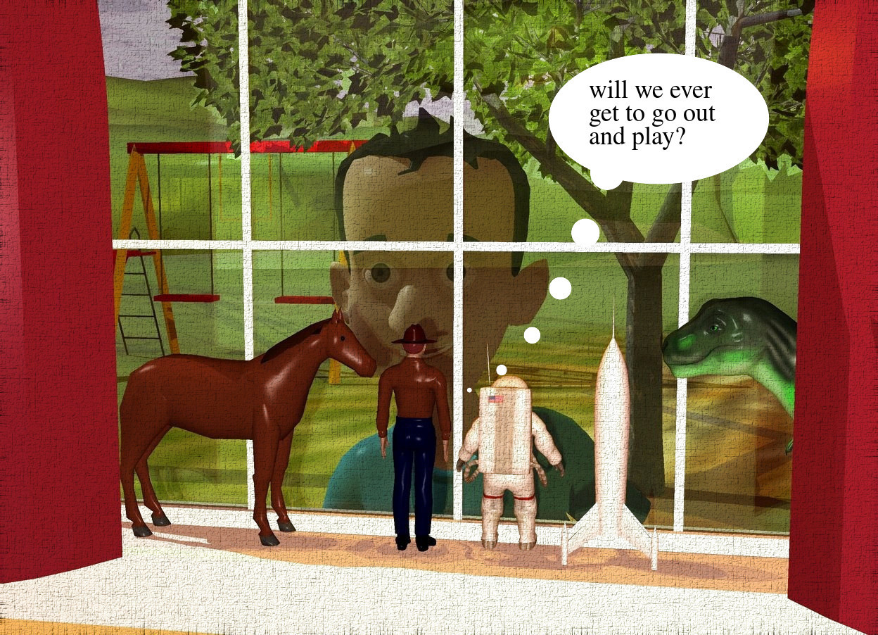 Input text: a large window is above a 1 foot tall and 2 foot deep and 14 foot wide white 1st wall. the 1st wall is above a 2nd autumn gold wall. a 13 foot tall bordeaux wine mauve curtain is in front of the window. a 3 foot tall cowboy is on the 1st wall. he is in front of and -6 feet left of the window. he faces back. a 2.8 foot tall astronaut is right of the cowboy. he faces back. a 3.2 foot tall horse is left of the cowboy. it faces the cowboy. a 3.4 foot tall rocket is right of the astronaut. the cowboy's hair is brown. a 3.4 foot tall green dinosaur is right of the rocket. it faces the rocket. a tree is 20 feet behind the 2nd wall. a huge playground equipment is -10 feet left of and behind the tree. a gold light is -30 feet above the tree. ambient light is sienna. ground is [grass]. a 15 feet tall boy is .7 feet behind the 2nd wall. he leans 5 degrees to the front. 2 dim orange lights are 3 inch above and 3 inch in front of the boy.