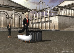 Businessman in the bathtub is ten feet in front of  the woman near the trash cans