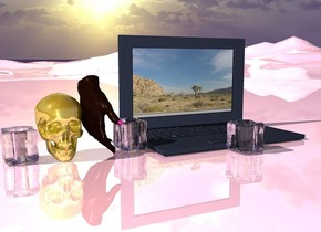 a huge gold skull. shiny pink ground.  an enormous hand east of the skull. a enormous ice. an enormous ice east of the hand.   an enormous computer. a enormous ice in front of the computer. a huge ice in front of the computer.