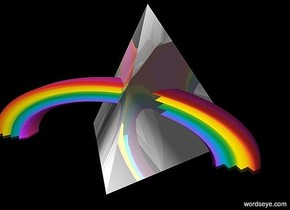 ground is black.sky is invisible.a 200 inch tall  shiny white tetrahedron is on the ground.a 100 inch tall and 400 inch wide and 50 inch deep rainbow is -280 inch left of the tetrahedron.the rainbow is -150 inch in front of the tetrahedron.