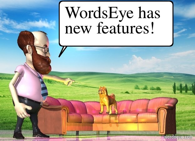Input text: The [Farm] backdrop. The 5 foot tall man is next to the couch. the couch is facing left. the shiny ground. a magenta light is above the dog. the yellow light is right of the man. the dog is on the couch.