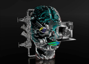 a 100 inch tall  head.sky is black. ground is clear.a 30 inch tall  steel camera is -38 inch right of the head.the camera is facing south.the camera is -58 inch above the head.the camera is -30 inch in front of the head.the head is  shiny steel.the head is  [Circuit Board] .a 10 inch tall  blue eye is -10 inch in front of the head.the eye is -45 inch above the head.the eye is -25 inch left of the head.a 7 inch tall petrol blue  mouth is -64 inch above the head.the mouth is in front of the head.a 35 inch tall steel compound object is -16 inch left of the head.the compound object leans 90 degrees to right.a 60.5 inch tall shiny wild rose brain is -60 inch above the head.