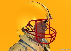 a  100 inch tall shiny petrol blue soldier is facing east.sky is orange.ground is invisible.a maroon light is 100 inch behind the soldier.a 18 inch tall  football helmet is -15 inch above the soldier.the football helmet is facing north.the football helmet is -22 inch in front of the soldier.the helmet of the football helmet is  silver.the padding of the football helmet is silver.the clip of the football helmet is silver.the mask of the football helmet is  red.camera light is gray.the interior of the football helmet is silver.