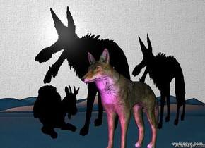 The [scene] backdrop. The wolf. The magenta light is in front of the wolf.