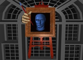 a 1st 100 inch tall window.a 55 inch tall  and 140 inch deep and 45 inch wide delft blue head is -77 inch above the 1st window.the head is -90 inch in front of the 1st window.a 80 inch tall 70% dim tan hand is -22 inch left of the 1st window.the hand leans 80 degrees to back.the hand is -65 inch above the 1st window.the frame of the 1st window is wood.sky is black.ground is invisible.a 220 inch tall and 100 inch wide and 100 inch deep wood easel is behind the 1st window.the easel is -195 inch above the window.the 1st window leans 14 degrees to back.the hand is -65 inch in front of the 1st window.a 5 inch tall maroon  paintbrush is -60 inch above the hand.the paintbrush leans 60 degrees to left.the bristle of the paintbrush is shiny delft blue.a 2nd 400 inch tall and 480 inch wide and 150 inch deep  35% dim gray window is behind the easel.the 2nd window is -330 inch above the easel.