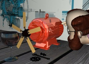 a 2 feet tall shiny motor.a fan is -2 inches right of the motor.the fan is face up.it is facing right.the fan is 2 inches above the ground.a large shiny glass is 6 inches right of the motor.the ground is wood.a flat wall is 8 inches left of the motor.it is facing right.a man is behind the motor.the wall is [machine].a wrench is right of the man.it is -8 inches in front of the man.the wrench is face down.the motor is rust.a black gear is right of the wrench.it is face down.a pale black nut and bolt is left of the wrench.it is face down.