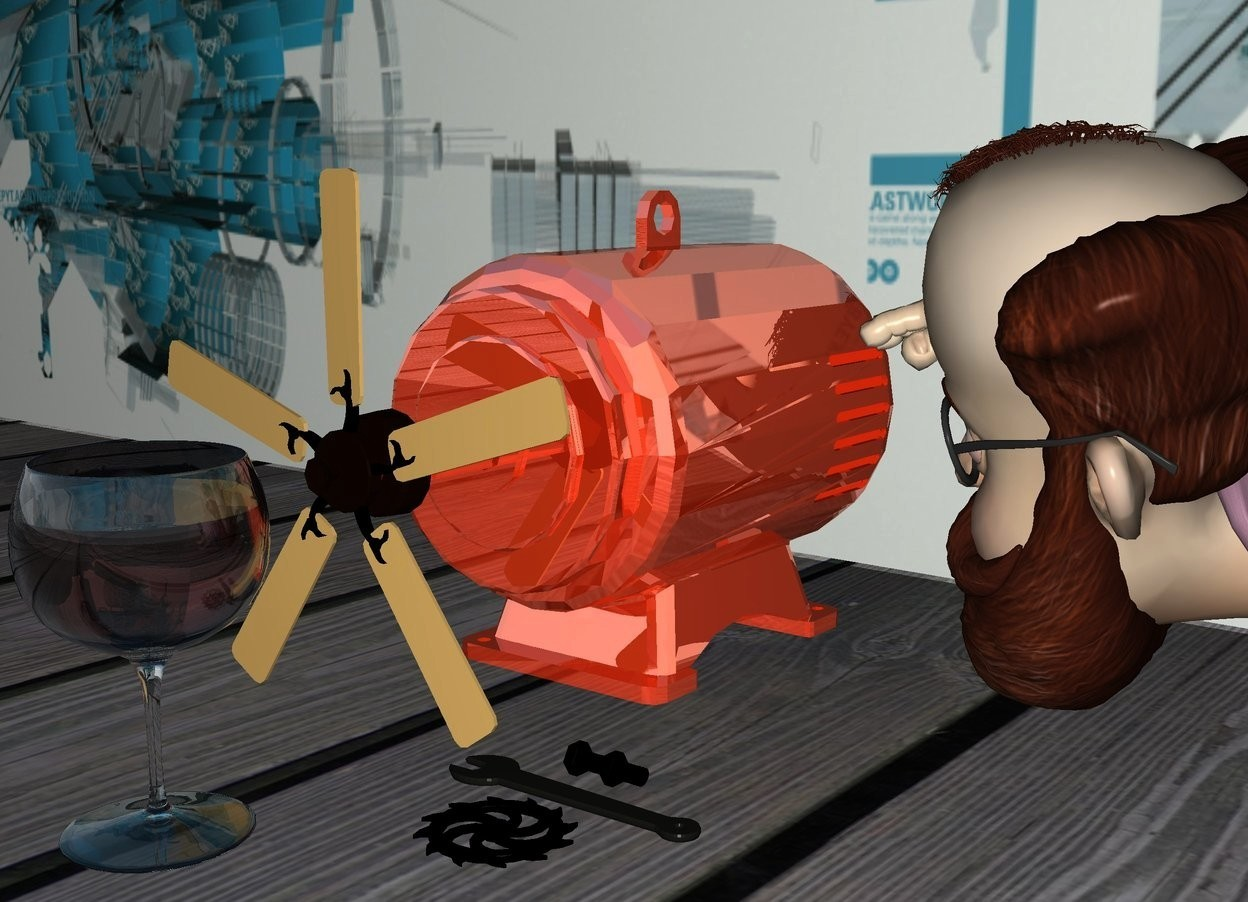 Input text: a 2 feet tall shiny motor.a fan is -2 inches right of the motor.the fan is face up.it is facing right.the fan is 2 inches above the ground.a large shiny glass is 6 inches right of the motor.the ground is wood.a flat wall is 8 inches left of the motor.it is facing right.a man is behind the motor.the wall is [machine].a wrench is right of the man.it is -8 inches in front of the man.the wrench is face down.the motor is rust.a black gear is right of the wrench.it is face down.a pale black nut and bolt is left of the wrench.it is face down.