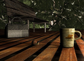 An [animal] cup. The altitude of the sun is 15 degrees. Camera light is black. 3 cream lights are behind the cup. It is evening. The ground is 3 feet wide [dry]. A dark [wood] bench is 2 feet left of and 1.5 foot in front of the cup. It is facing north. A snail is 6 inch in front of the cup. It is facing the cup. A dark shiny yew tree is left of the bench. It is -2 feet above the ground. A dark shiny yew tree is in front of the tree. A 50% dark yew tree is left of the tree. A 75% dark yew tree is left of the tree. A small [leather] bag is right of and -1.1 foot behind the bench. It is facing northeast. Ambient light is black.