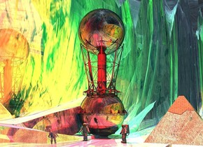 a upside down shiny tower.it is 13 feet in the ground.a shiny 19 feet tall black sphere is -5 feet above the tower.the ground is 200 feet wide.three red lights are 6 feet in front of the sphere.three green lights are 6 feet behind the sphere.the camera light is dark.it is noon.the sky is picture.the ground is shiny.a shiny pyramid is right of the tower.a 1st man is 2 feet in front of the tower.he is on the ground.a 2nd man is 10 feet right of the 1st man.he is facing southwest.