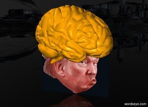 a 100 inch tall fire orange head.sky is black.ground is clear.a 88 inch tall  orange brain is -82 inch above the head.the brain is facing east.the brain leans 20 degrees to the front.