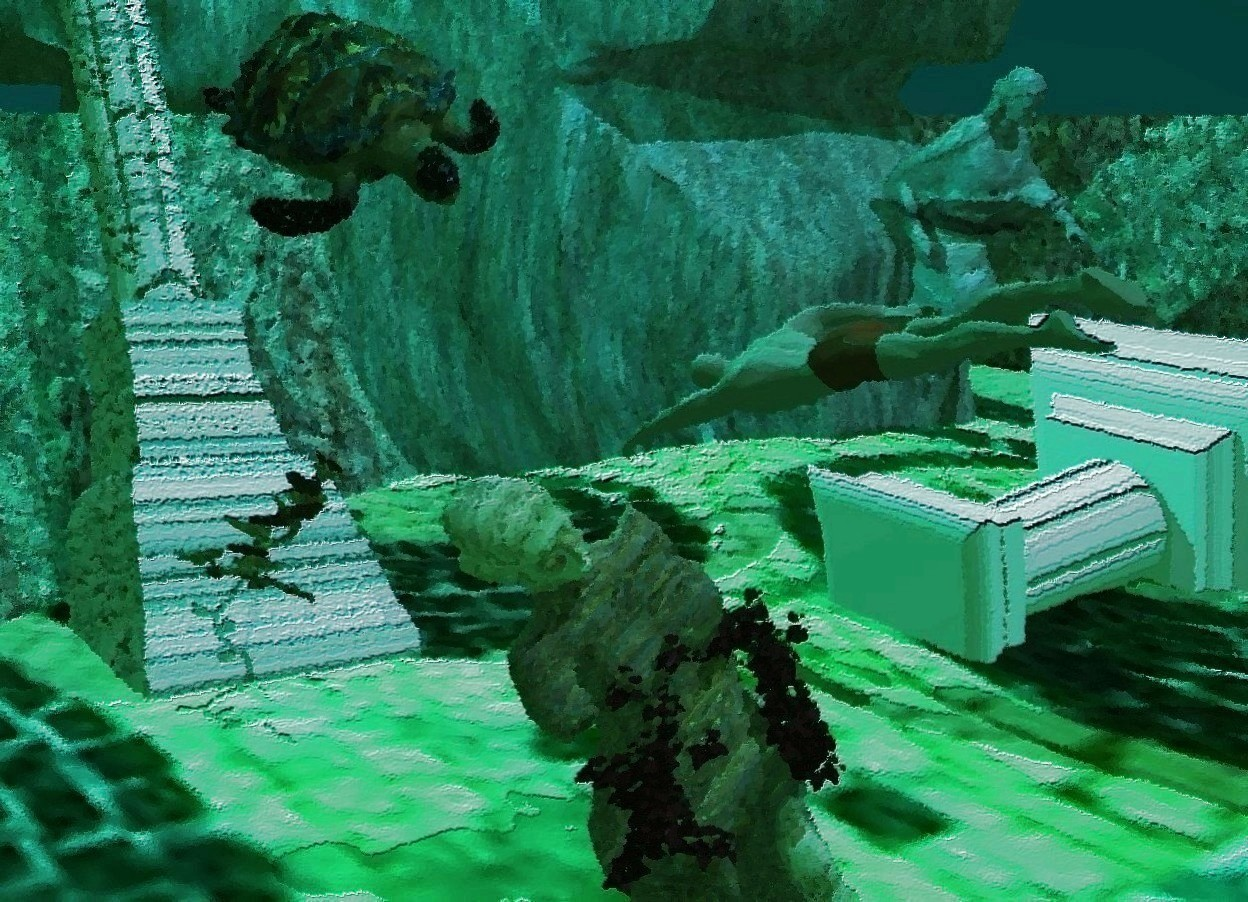 Input text: a huge stone cave is upside down and  -43 feet above the ground. 1st [texture] statue is -2 feet above the ground and -18 feet left of the cave. it leans 34 degrees to the right. the ground is 37 feet wide [sea]. a pedestal is  3 feet right of and behind the statue. it leans 97 degrees to the right. a huge rock is -13 feet right of and 4 feet behind the pedestal. it faces right. the ambient light is sea green. the sun's azimuth is 180 degrees. the sun's altitude is 58 degrees. 2nd stone statue is -14 feet above and -3 feet in front of and -5 feet right of the rock. it leans to the front. a stone column is 5 feet behind the 1st statue. it leans back. a small brown ivy is -3.3 feet above the 1st statue. a bisque cucumber is -16.6 feet above and -1.7 feet in front of  the column. a turtle is 1.2 feet behind and .7 feet left of and .7 feet above the pedestal. it leans 32 feet to the southeast. the sun is dim fjord blue. the camera light is black. a teal light is above the turtle. a man is 1 feet right of and -1.7 feet behind and -2.2 feet above the 1st statue. he faces back. he leans to the front. a dim slate blue light is on the man. the sky is acid green. 2 lagoon turquoise lights are 3 feet right of and 2 feet behind and -10 feet above the rock.