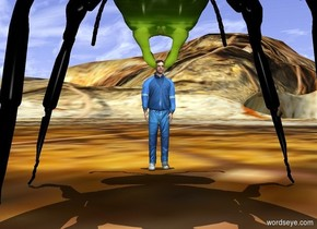a 20 foot tall [texture] insect faces a man. the man faces the insect. ground is [pattern]. it is noon.