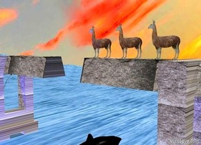 a 1st upside down 20 feet tall rock bridge.a 1st llama is above the 1st bridge.a 2nd llama is 1 feet in front of the 1st llama.a 3rd llama is 1 feet in front of the 2nd llama.a 2nd upside down 20 feet tall rock bridge is 10 feet in front of the 1st bridge.it is facing the 1st bridge.the ground is water.the water is 20 feet tall.the ground is 50 feet tall.the sky is leaning 45 degrees to the south.a blue light is 1 feet right of the 2nd bridge.a midnight blue light is 1 feet right of the 1st bridge.the sky is cloud.the camera light is black.the ambient light is silver.a giant black shark is behind the 2nd bridge.it is facing west.it is leaning 20 degrees to the east.it is 5 feet in the ground.