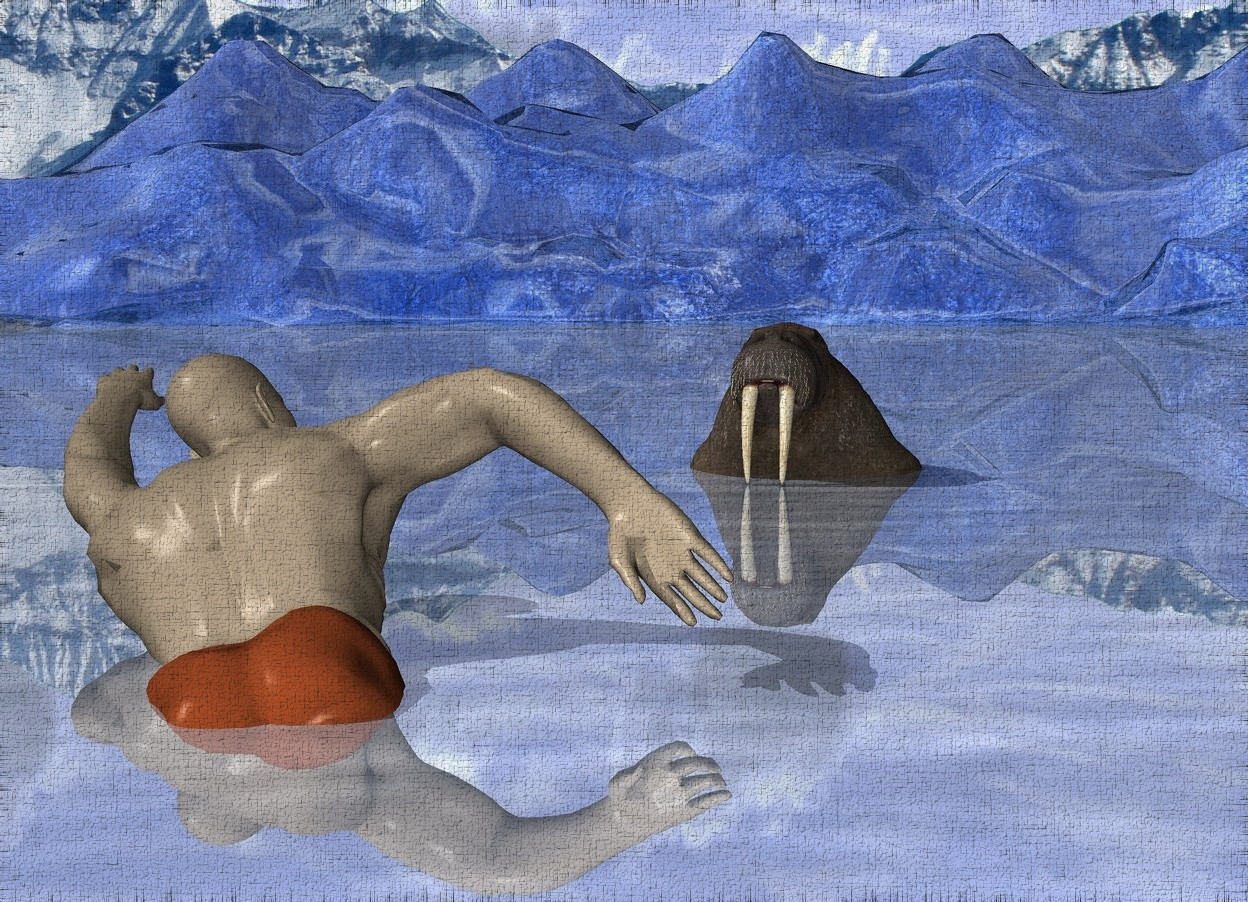 Input text:  [mountain range] is in the background.a 3 inch tall sphere is -3 inch above the ground.a 35 inch tall swimmer is 2000 inch in front of the sphere.the swimmer is facing the sphere.the swimmer is -45 inch above the ground.the swimmer leans 20 degrees to back.ground is shiny delft blue. a 4 feet tall walrus is -.4 feet right of and 2 feet behind and -9 feet above the swimmer. it faces the swimmer. it leans back