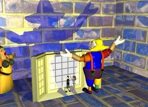 a 50 inch tall [backdrop] cube.a 10 inch tall man is -46 inch above the cube.a 10 inch tall  gray window is -16 inch left of the cube.it is -.39 inches above the ground. the window is facing west.the man is facing the window.the pane of the window is clear white.a yellow light is 5 inch right of the man. the 4 inch tall boy is -3.8 inches left of and -9.8 inches above the window. a 3.7 inch tall woman is behind the boy. a 9 inch tall opera singer is in front of the window. she faces the man. she is -47 inches above the cube.