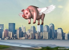 a 1st shiny gray wing is 100 feet above the ground. it leans to the front. a small pig is -.2 foot right of and -.7 foot above the wing. a 2nd shiny gray wing faces back. it is -.2 foot right of and -.5 foot above the pig. it leans to the back. the background is city. ground is [sidewalk]. a wildness light is 5 feet in front of the pig.