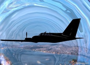 a shiny [city] bowl leans 90 degrees to the front. a .7 inch tall black airplane is in front of and -.3 foot above and -.4 foot right of the bowl. it faces northwest.