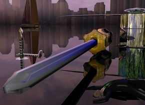 A shiny screwdriver is in front of and -5 inch left of a silver hammer. The hammer is 3 inch high and 1 foot wide. The ground is clear. A small silver nail is 2.7 inch left of the screwdriver. It is upside down. It is -0.2 inch above the ground. The background is city. It is dark. A [forest] wall is 5 feet in front of the hammer. A small silver nail is behind the nail. It is leaning 90 degrees to the left. It is -0.45 inch above the ground. A 2 inch high man is -0.5 inch right of and -4 inch in front of the screwdriver. He is leaning 90 degrees to the back. He is -0.3 inch above the ground. He is facing northeast. Camera light is grey. A navy light is behind the man. The sun is pink. The azimuth of the sun is 320 degrees. Ambient light is black. An extremely tiny clear boat is 5.5 feet behind and 3.5 feet left of the nail. It is -6 inch above the ground.
