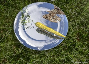 A gold carrot is on a silver plate. The ground is grass. It is 40% dark. A small rabbit is -1 inch left of and -9 inch behind the plate. It is facing northeast.