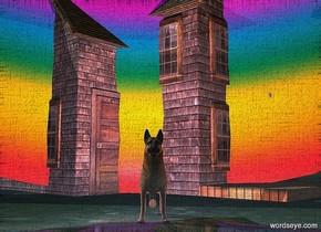 a 30 feet tall bubble.it is upside down.a rainbow is 15 feet behind the bubble.it is upside down.a dog is behind the bubble.a house is behind the dog.it is facing southeast.a peach light is 1 feet right of the dog.a plum light is 1 feet left of the dog.