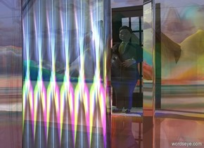 a clear house.a man is behind the house.the shiny ground is 120 feet tall.the ground is [abstract].a rust light is in front of the man.a blue light is right of the man.the house's door is shiny picture.a  8 feet tall door is 1 feet behind the man.