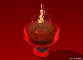 a 100 inch tall and 100 inch wide and 100 inch deep clear white light bulb.a 100 inch tall shiny  orange jellyfish is -45 inch above the light bulb.the jellyfish is upside down.ground is maroon.the thread of the light bulb is red.sky is red.