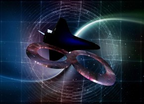 """A 10% shiny """"8"""" is leaning 90 degrees to the left. It is 1 foot wide [nebula]. It is 1 foot high and 0.2 inch deep. Space backdrop. A 5 inch high silver spaceship is above the """"8"""". It is upside down. It is leaning 20 degrees to the front. It is facing east. A blue light is below the spaceship"""