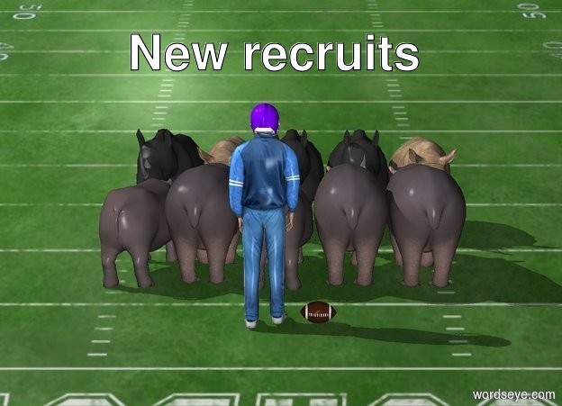Input text: The  image  backdrop. the shadow plane. it is afternoon.   five hippos are in front of five rhinos. the hippos are facing north.  the athlete is two feet in front of the hippos. the athlete is facing north. the football helmet is -10 inches above the athlete. it is facing north.  the football is right of the athlete.