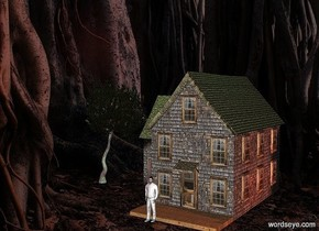 The image backdrop.a tiny house.dark shadow plane.a green light is 1 feet above the house.a 20 inch tall white man is in front of the house.a rust light is 1 feet right of the house.a tiny dark tree is left of the house.brown sun.the tree's tree trunk is rust.