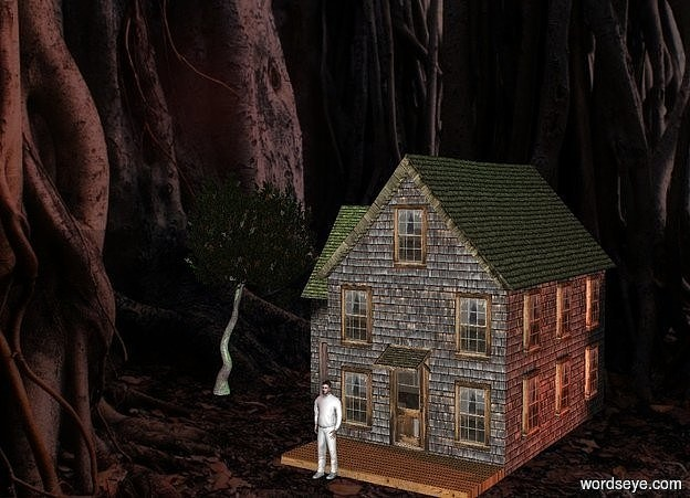 Input text: The image backdrop.a tiny house.dark shadow plane.a green light is 1 feet above the house.a 20 inch tall white man is in front of the house.a rust light is 1 feet right of the house.a tiny dark tree is left of the house.brown sun.the tree's tree trunk is rust.