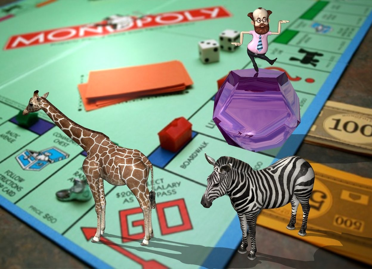 Input text: The image backdrop. the zebra is facing southwest. the small giraffe is facing west. the giraffe is 2 feet left of the zebra. the shadow plane. the huge shiny purple dodecahedron is 10 feet behind the zebra.  the man is on the dodecahedron.